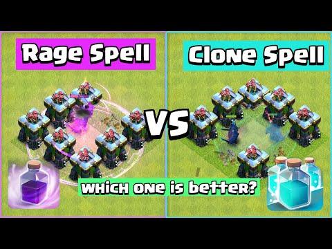 Rage Spell VS Clone Spell | Clash of Clans