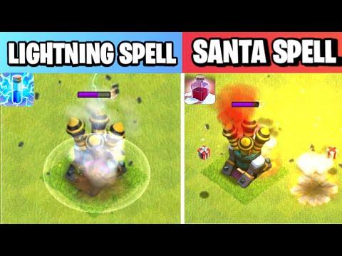 Santa Spell Vs Lightning Spell   Spell Comparison   Clash of clans Winter Update