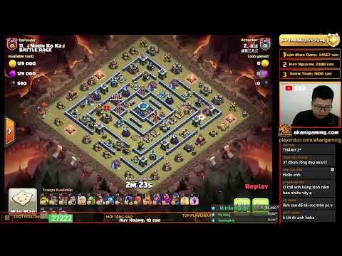 BATTLE RAGE vs TRUNG QUỐC (CHINA) TH13 ATTACK Clash of clans   Akari Gaming