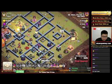 COC LOVE vs TRUNG QUỐC (CHINA) TH13 ATTACK Clash of clans   Akari Gaming