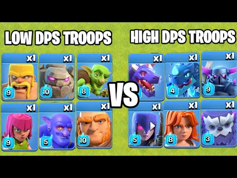 High DPS Troops Vs Low DPS Troops | Troops Comparison | Clash of clans