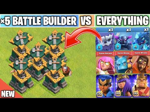 Battle Builder Vs Every single Troop/Heroes   New Defense Update   Clash of clans