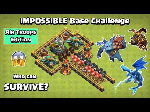 IMPOSSIBLE Base Challenge Air Troops Edition   Clash of Clans   Town Hall 14 Challenge