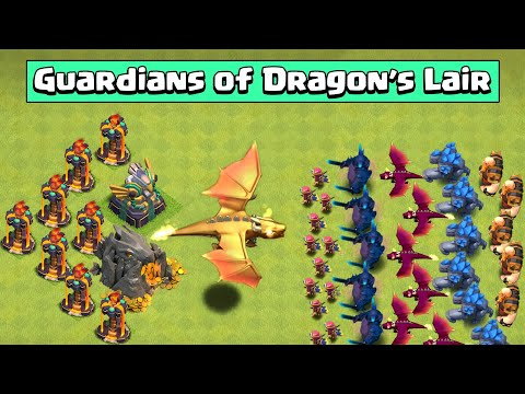 DRAGON'S LAIR VS FULL ARMY OF ALL TROOP | CLASH OF CLANS