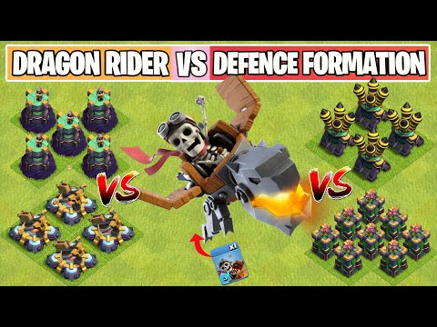Dragon Rider Vs Every Defense Formation   New Troop   Clash of Clans Summer Update