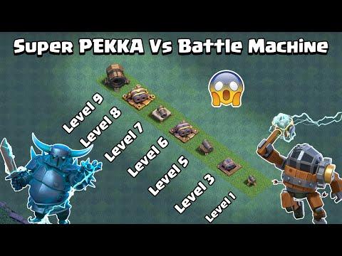 Super PEKKA Vs Battle Machine Vs Every Level Cannon Family | Clash of Clans