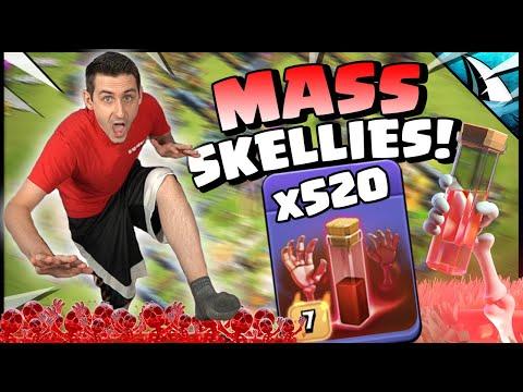 SPAWNED over 520 Skeletons vs MAX BASE!! OVERLOADED Clash of Clans!